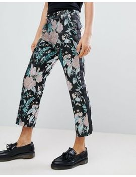 Asos Edition Straight Crop Smart Pants In Floral Jacquard by Asos Design