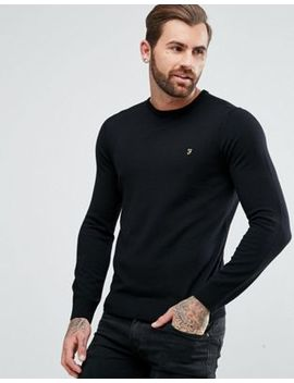 Farah Mullen Slim Fit Merino Jumper In Black by Farah