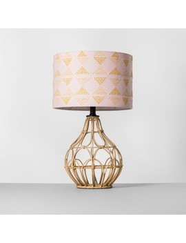 Rattan Table Lamp Pink Shade   Opalhouse™ by Opalhouse™