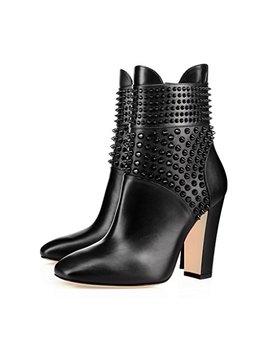 Xyd Chic Studded Chunky Heel Boots Closed Square Toe Ankle High Side Zipper Booties Shoes by Xyd