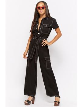 Collared Button Front Jumpsuit by Forever 21