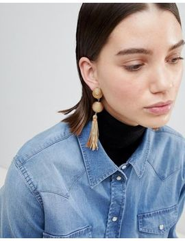 Asos Design Wrapped Bead & Tassel Earrings by Asos Design
