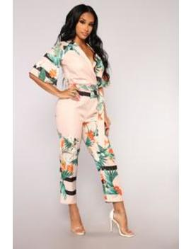Oriental Garden Jumpsuit   Peach by Fashion Nova