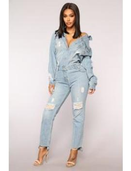 High Jump Denim Jumpsuit   Medium Denim by Fashion Nova