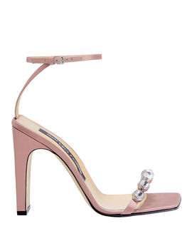 Crystal Toe Blush High Sandals by Sergio Rossi