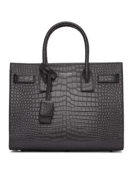 Taupe Croc Baby Sac De Jour Tote by Saint Laurent