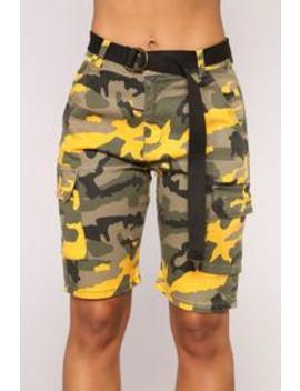 Cadet Kate Oversized Camo Shorts   Yellow Camo by Fashion Nova