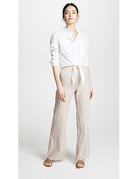 Woven Linen Wide Leg Pants by Three Dots