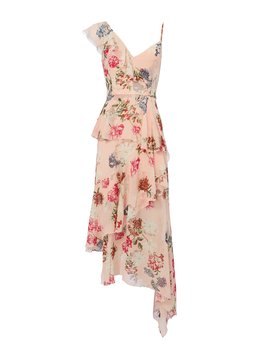 Strappy Ruffle Trimmed Floral Dress by Nicholas