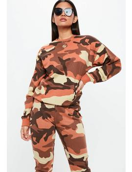 Orange Camo Long Sleeve Sweatshirt by Missguided