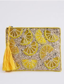 Lemon Embellished Clutch Bag by Marks & Spencer