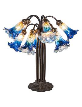 21 Inch High Mercury Glass 10 Lily Downlight Table Lamp by River Of Goods