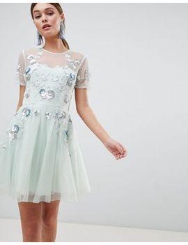 Asos Design Premium Embellished Tulle Open Back Mini Dress by Asos Design