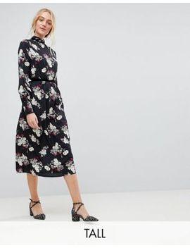 Influence Tall Velvet Trim Detail Floral Midi Dress by Midi Dress