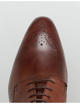 Asos Derby Brogue Shoes In Brown Leather by Asos