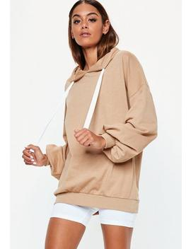 Nude Oversized Puff Sleeve Hoodie by Missguided