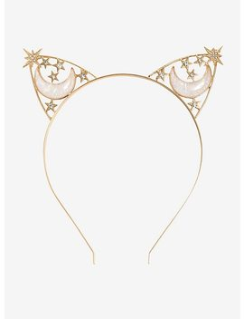 Gold Opalescent Moon &Amp; Stars Cat Ear Headband by Hot Topic