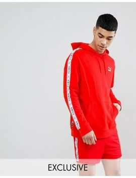Puma Pullover Hoodie With Taped Side Stripe In Red Exclusive To Asos by Puma