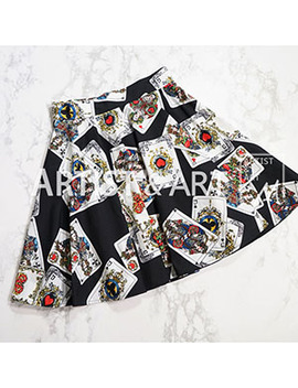Svoryxiu 2018 Runway Custom Summer Half Skirt Women's Poker Cards Print Thin Section Cotton Mini Skirts  by Svoryxiu