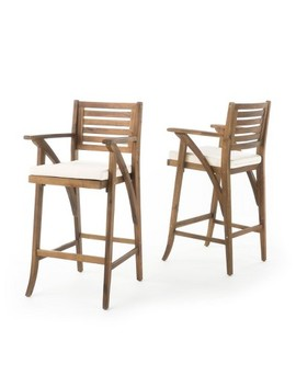 Hermosa Set Of 2 Acacia Wood Outdoor Barstool   Teak Finish   Christopher Knight Home by Christopher Knight Home