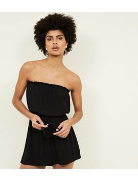 Black Bandeau Tie Waist Playsuit by New Look