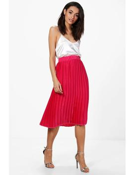 Premium Aura Satin Pleated Midi Skirt by Boohoo