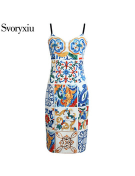 Svoryxiu2018 Sexy Runway Summer Spaghetti Strap Dress Women's Chic Painted Pottery Print Slim Package Buttocks Dress Female by Svoryxiu