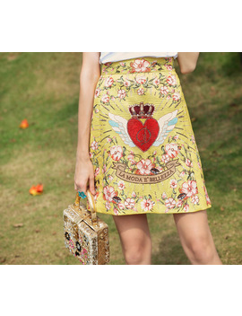 High Quality 2018 New Designer Fashion Skirt Women's Flower Pattern Print Embroidered Vintage Skirt by Qian Han Zi