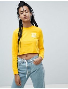 Vans Yellow Long Sleeve T Shirt With Raw Hem by Vans