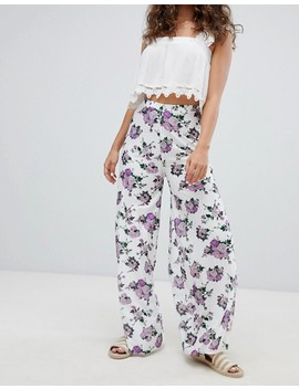 Asos Design Soft Pleated Wide Leg Trousers In Ditsy Floral Print by Asos Design
