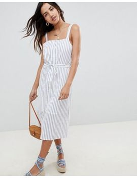 Asos Design Button Through Casual Midi Sundress In Stripe by Asos Design