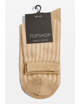 Sheer Ribbed Glitter Ankle Socks by Topshop
