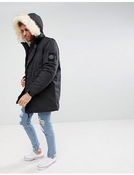 River Island Coat With Faux Fur Trim In Black by River Island