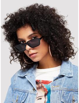 Plain Frame Mirror Lens Sunglasses by Romwe