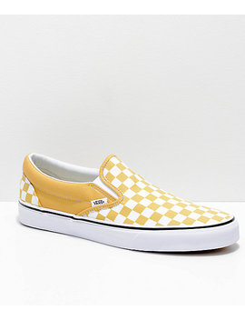 Vans Slip On Ochre &Amp; White Checkerboard Skate Shoes by Vans