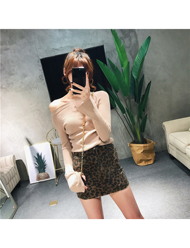 High Waist Women Leopard Printed Casual Burr Hemline Design Slim A Line Mini Skirt by Julia Kiss