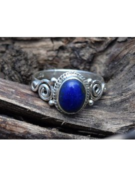 Lapis Stone Ring, Lapis Lazuli Ring, Blue Stone Silver Ring, 925 Sterling Silver, Lapis Lazuli Girls Ring, Lapis Jewellery, Women Ring by Etsy