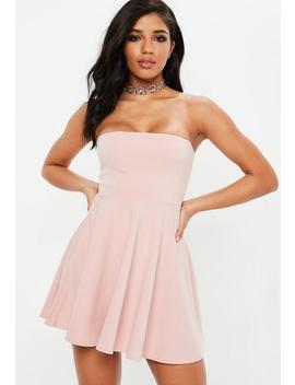 Pink Bandeau Skater Dress by Missguided