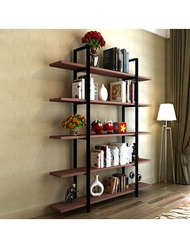 Tribesigns 5 Tier Bookshelf, Vintage Industrial Style Bookcase 72 '' H X 12'' W X 47''l, Cherry by Tribesigns