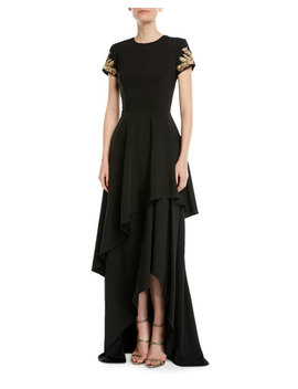 Tiered Skirted Gown W/ Beaded Sleeves by David Meister