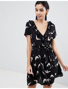 Liquorish Bird Print Wrap Dress With Short Sleeves by Liquorish