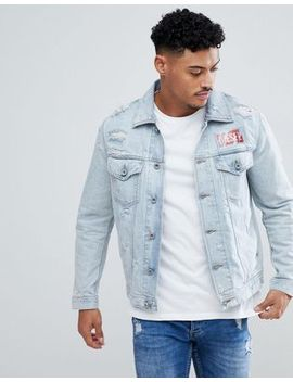 Diesel D Hill Distressed Contrast Logo Denim Jacket by Diesel