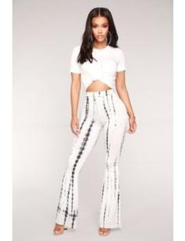 Jazmin Flare Tie Dye Pants   White/Black by Fashion Nova