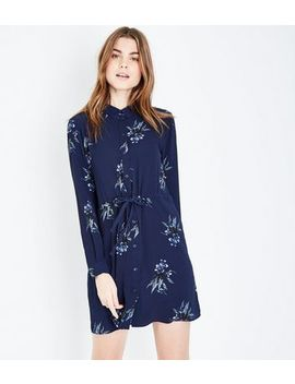 Jdy Blue Floral Print Long Sleeve Tie Waist Dress by New Look