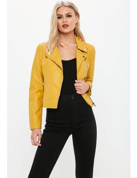 Yellow Faux Leather Biker Jacket by Missguided