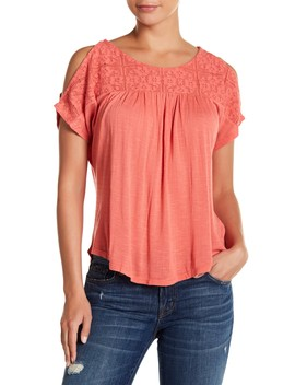 Lace Yoke Cold Shoulder Blouse by Lucky Brand