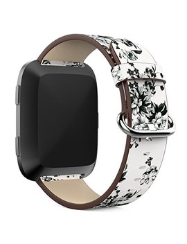 Fitbit Versa Replacement Genuine Leather Watch Strap   Feskio Accessory Peony Printing Leather Wrist Strap Watch Band For 2018 Fitbit Versa Fitness Smartwatch by Amazon