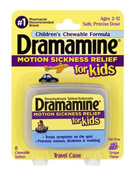 Dramamine Motion Sickness Relief For Kids, Grape Flavor, 8 Count by Dramamine