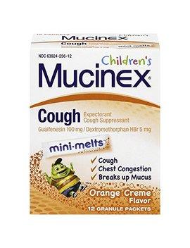 Mucinex Children's Chest Congestion Expectorant And Cough Suppressant Mini Melts, Orange Cream, 12 Ct by Mucinex