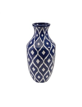Maine Blue And White Tall Vase by Imax